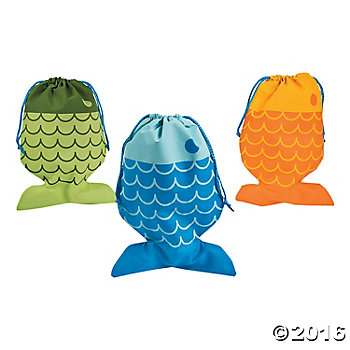 "Fish Drawstring 14.5"" Fabric Bags - 12 Pack"