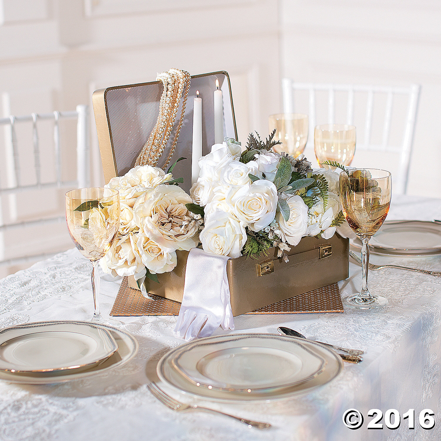 Gold suitcase centerpiece party supplies canada open a