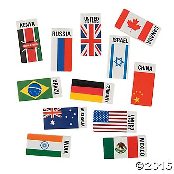 Flags Around The World Erasers - 24pk