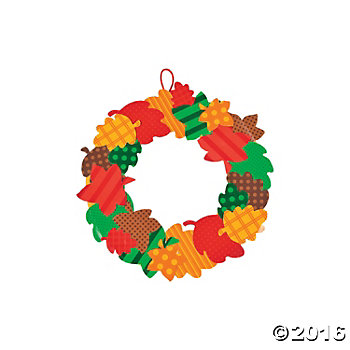 Fall Leaves Paper Wreath Craft Kit - 12 pk