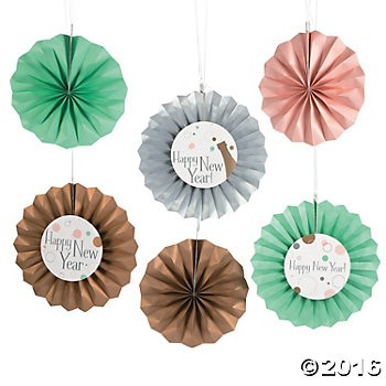 Bubble & Bright New Year Hanging Fans - 12 Pk