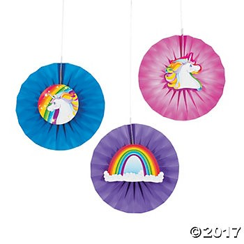 Large Unicorn Hanging Fans - 12pk
