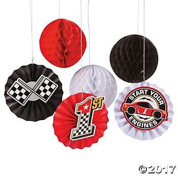 Race Car Hanging Fans - 12pk