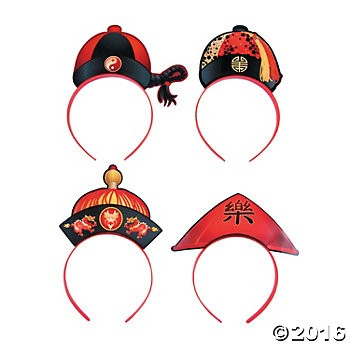 Chinese New Year Hat Headbands - 12pk
