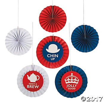 British Party Hanging Fans - 6pk