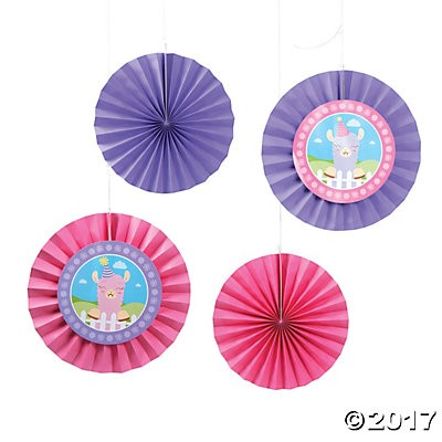 Little Llama Large Hanging Fans - 12pk