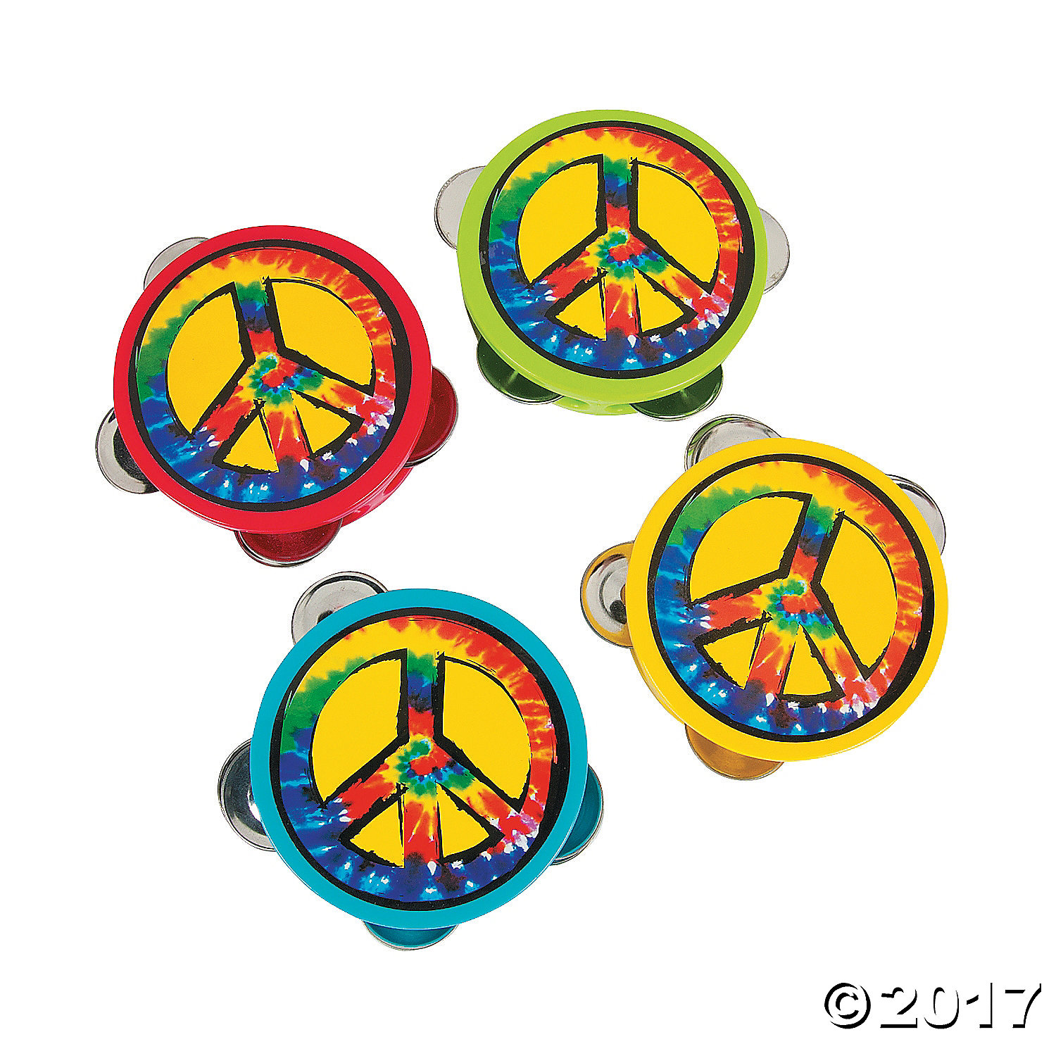 Peace Sign Tambourines - 12Pk