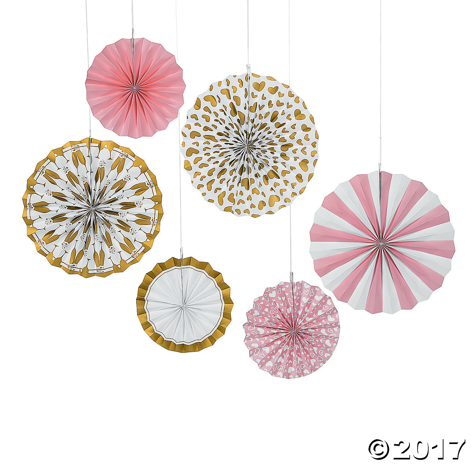 Pink and Gold Hanging Fans 6pk