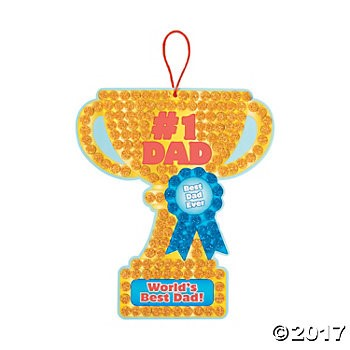 #1 Dad Trophy Glitter Mosaic Sign Craft Kit - 12 Pk