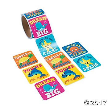 Under The Sea Stickers - Roll of 100