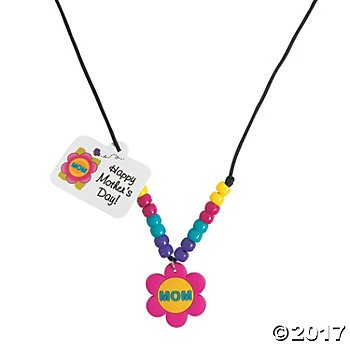 Mom Beaded Necklace Craft Kit - 12pk
