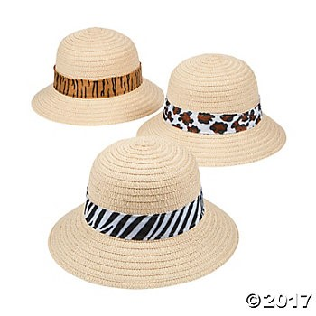 Kid's Pith Helmets with Animal Print Bands - 12pk