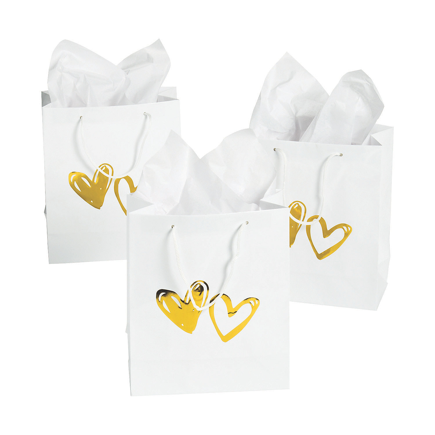 Gold Foil Heart Stamped Gift Bags - 12 Pk Party Supplies Canada ...