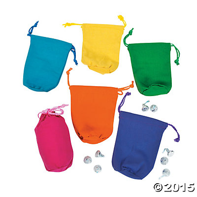 Bright Color Canvas Drawstring Bags - 12 Pack