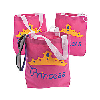 Princess Canvas Tote Bags 12 Pk