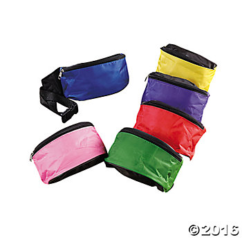Bright Fanny Packs w/Belts - 12 Pack