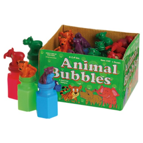 Zoo Animals Deluxe Bubble Bottles - 12 Pack