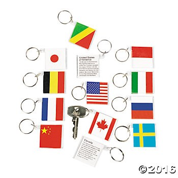 Flags Around The World Keychains - 12pk