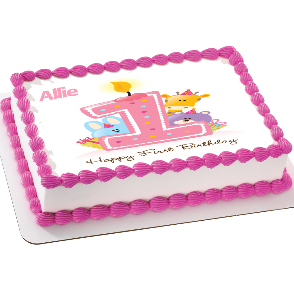 1st Birthday Personalizable Pink Animal Edible Icing