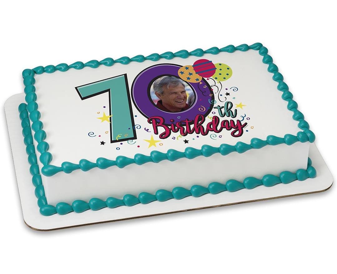 Happy 70th Birthday PERSONALIZED PHOTO Edible Icing