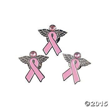 Metal Breast Cancer Angel Pins 12 Pk