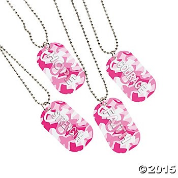 Breast Cancer Camo Dog Tag Necklaces 12 Pk