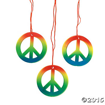 Rainbow Peace Sign Necklaces - 48 Pk