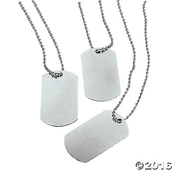Metal Dog Tag Necklaces - 12pk