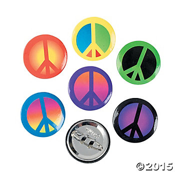 Peace Sign Buttons - 48 Pk