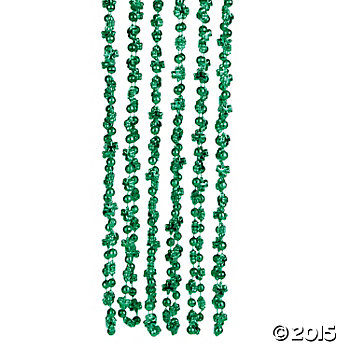 St. Patricks Shamrock Long Bead Necklaces - 12 Pk