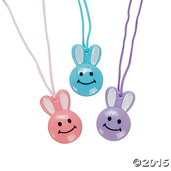 Smile Face Bunny Necklaces - 48 Pk
