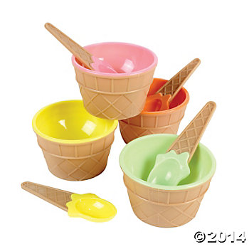 Ice Cream Dishes w/Spoons 12 Pack