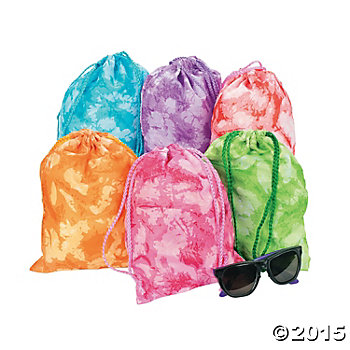 Material Tie-Dyed Drawstring Bags - 12 Pk