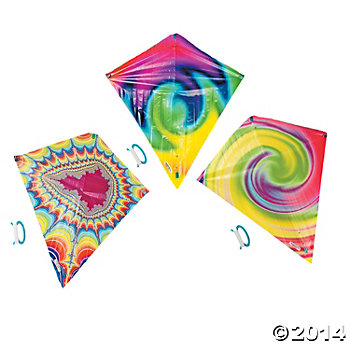 Tie Dyed 28 Inch Kites - 12 pack
