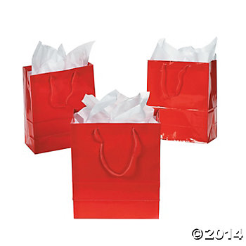 Red Small Glossy Gift Bags - 12 Pk