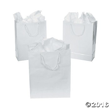 Small White Gift Bags - 12 Pk