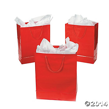 Red Glossy Gift Bags - 12 Pk