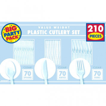 50% OFF: Clear Assorted Cutlery BIG 210 Pk