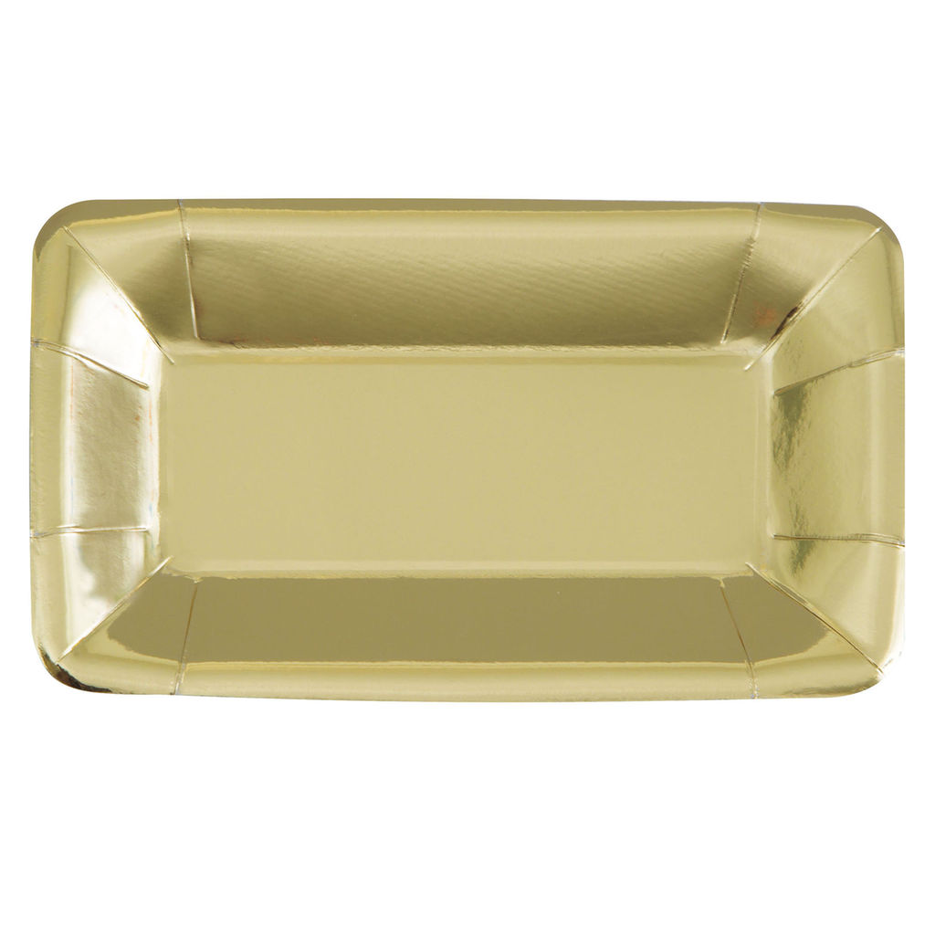 50% OFF: Gold Metallic Rectangle Appetizer Plates - 8 Pk