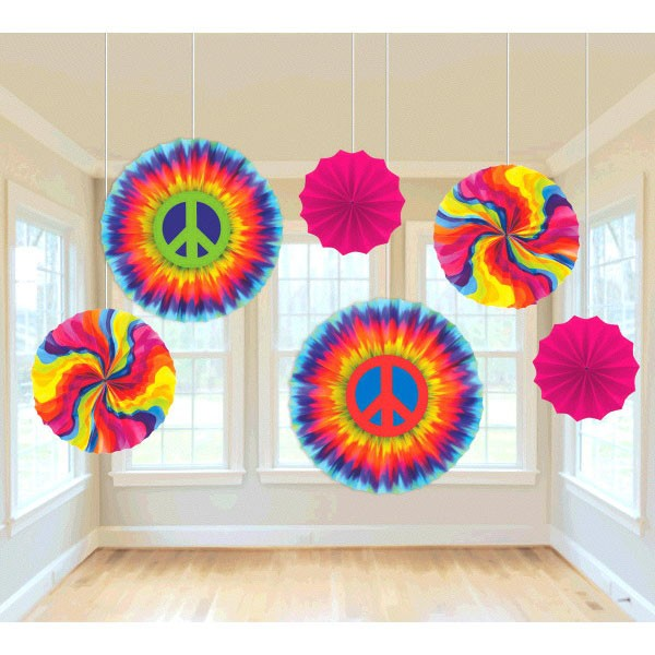 60's Printed Paper Fans - 6 Pk