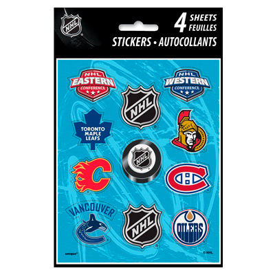 Hockey Party Supplies: NHL Sticker Sheets 4 Pk