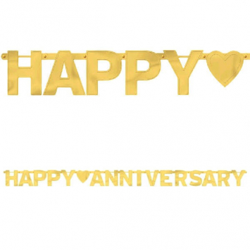 50% OFF: Gold Metallic Anniversary 8 Ft. Banner