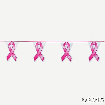 Plastic Pink Ribbon Pennant Banner