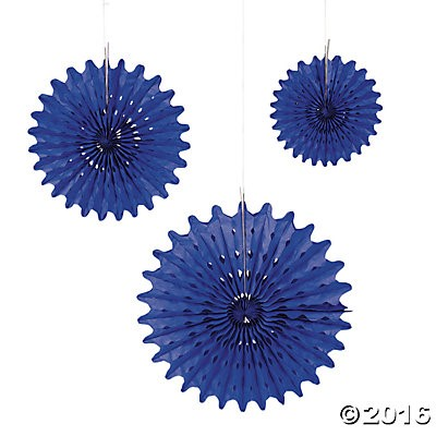 Blue Tissue Hanging Fans - 12pk
