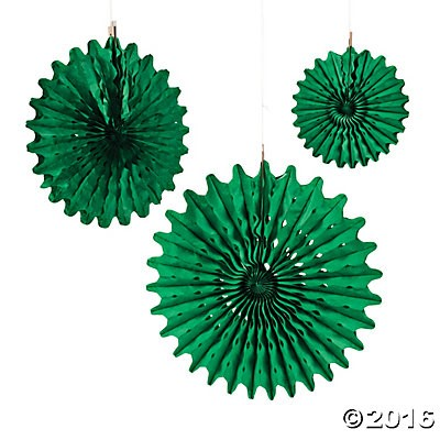 Green Tissue Hanging Fans - 12pk