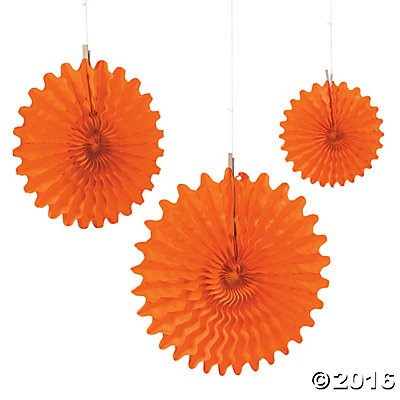 Orange Tissue Hanging Fans - 12pk