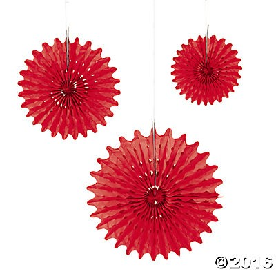 Red Tissue Hanging Fans - 12pk