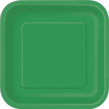 Green Square Dessert Plates Big 16 Pack