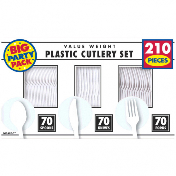 50% OFF: White Assorted Cutlery BIG 210 Pk
