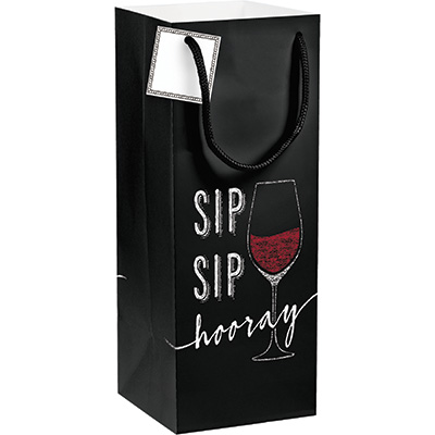 Wine Party Sip Sip Hooray Gift Bag with Tag